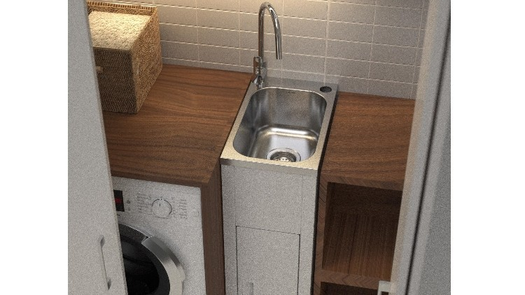 Mini Laundry Tub : Compact laundry tub and cabinet - Plumbing Connection