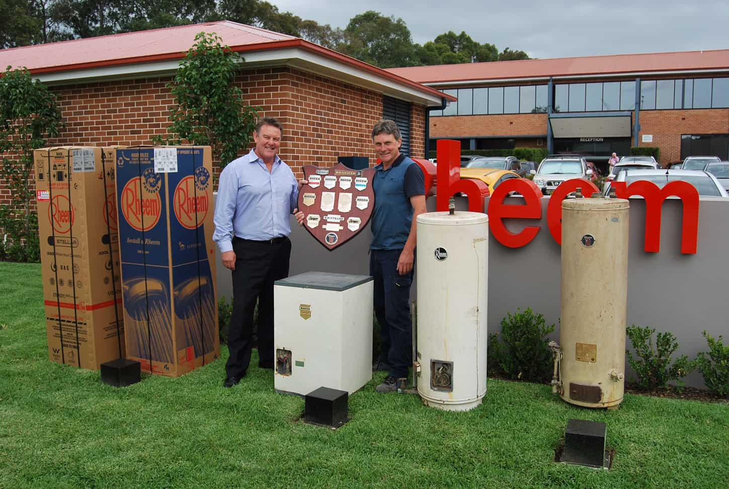 low res - Rheem's Paul McInnes with Shane Foster and collection of old a...